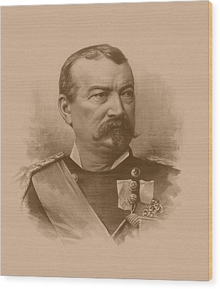 Wood Print featuring the drawing General Philip Sheridan by War Is Hell Store
