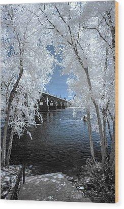 Gervais St. Bridge In Surreal Light Wood Print
