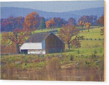Gettysburg Barn Wood Print by Bill Cannon