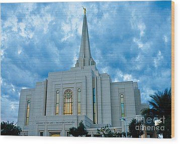 Gilbert Arizona Lds Temple Wood Print by Nick Boren
