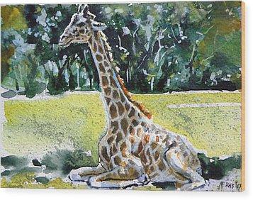 Wood Print featuring the painting Giraffe by Kovacs Anna Brigitta