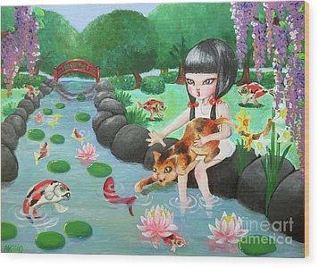Girl Wood Print by Akiko Okabe