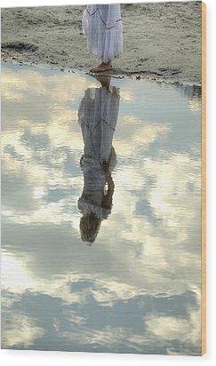 Girl And The Sky Wood Print by Joana Kruse