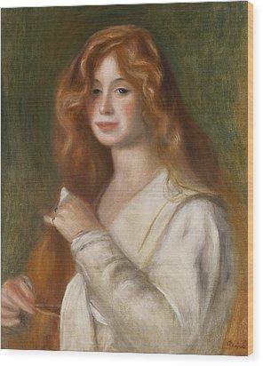 Girl Combing Her Hair Wood Print by Pierre Auguste Renoir