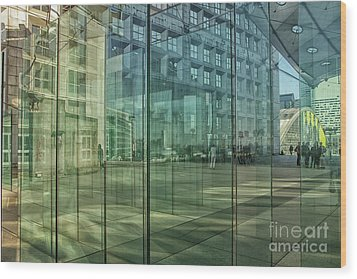 Wood Print featuring the photograph Glass Panels At Le Grande Arche by Patricia Hofmeester