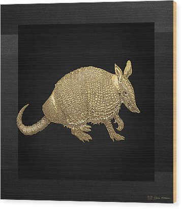 Gold Armadillo On Black Canvas Wood Print