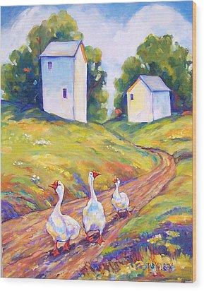 Goose Walk Wood Print by Peggy Wilson