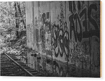 Graffitti And Train Tracks Wood Print