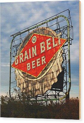 Grain Belt Beer Sign Wood Print