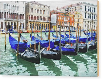 Grand Canal In Venice Wood Print by Mel Steinhauer