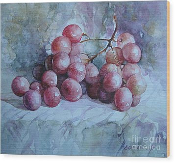 Wood Print featuring the painting Grapes... by Elena Oleniuc