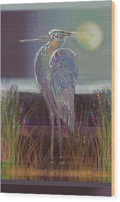Great Blue Heron Wood Print by Lydia L Kramer