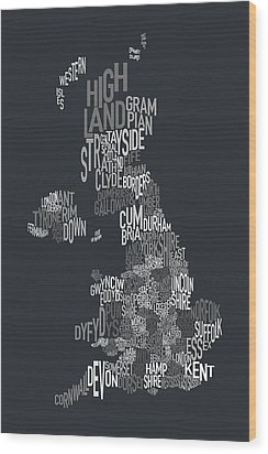 Great Britain County Text Map Wood Print by Michael Tompsett