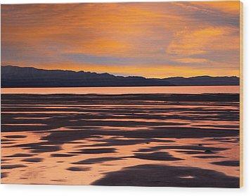 Great Salt Lake Sunset Wood Print by Utah Images