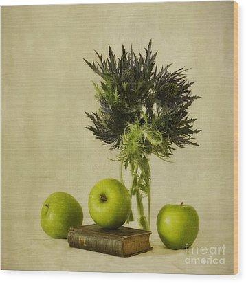 Green Apples And Blue Thistles Wood Print by Priska Wettstein