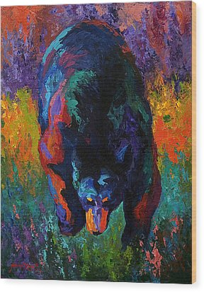 Grounded - Black Bear Wood Print by Marion Rose