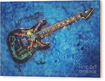 Wood Print featuring the digital art Guitar Love by Ian Mitchell