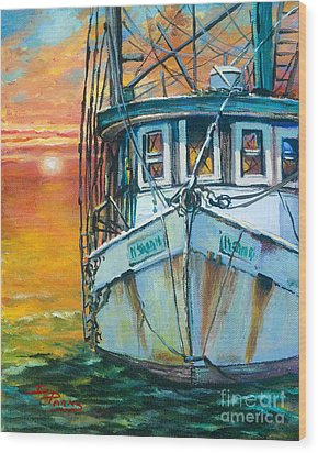 Gulf Coast Shrimper Wood Print by Dianne Parks