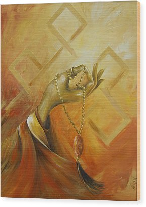 Wood Print featuring the painting Gyan Mudra by Dina Dargo
