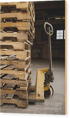 Hand Truck And Wooden Pallets Wood Print by Shannon Fagan