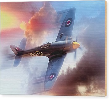Wood Print featuring the photograph Hawker Sea Fury by Steve Benefiel