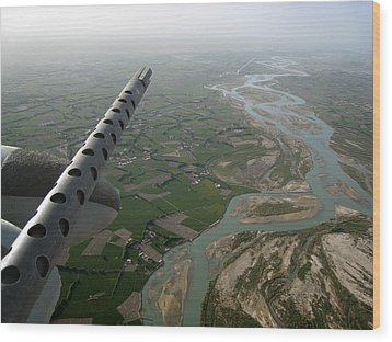 Helmand River Valley From The Air Wood Print by Jetson Nguyen