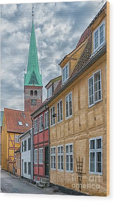 Wood Print featuring the photograph Helsingor Narrow Street by Antony McAulay