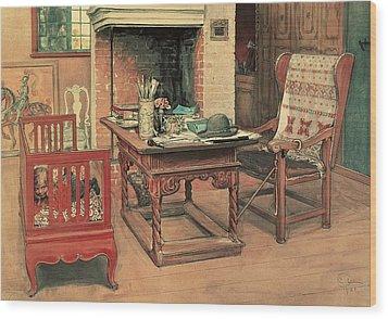 Hide And Seek Wood Print by Carl Larsson