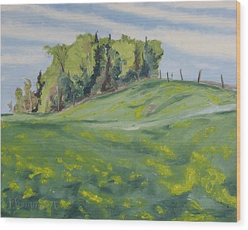 Hills Forest And Dadelions  Wood Print by Francois Fournier