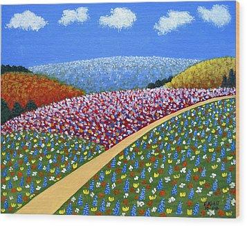 Hills Of Flowers Wood Print by Frederic Kohli