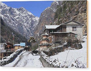 Himalayan Mountain Village Wood Print by Aidan Moran