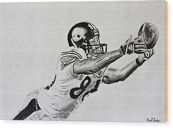 Hines Ward Diving Catch  Wood Print by Bryant Luchs