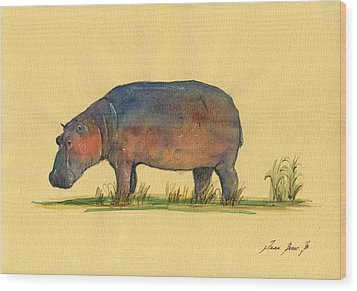 Hippo Watercolor Painting  Wood Print