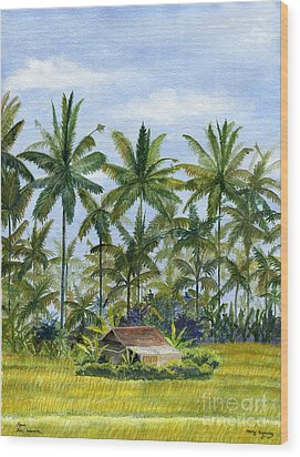 Wood Print featuring the painting Home Bali Ubud Indonesia by Melly Terpening