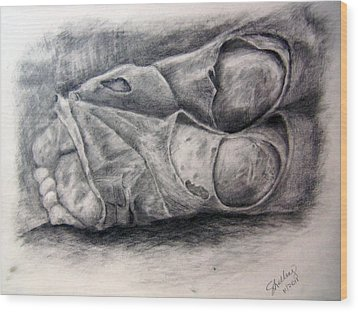 Homeless Feet Wood Print