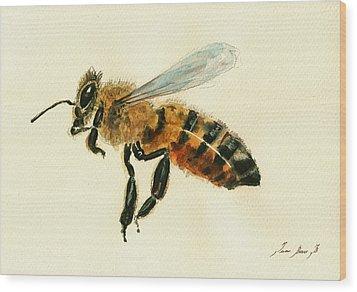 Honey Bee Watercolor Painting Wood Print by Juan  Bosco
