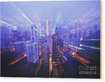 Hong Kong Lights Wood Print by Ray Laskowitz - Printscapes
