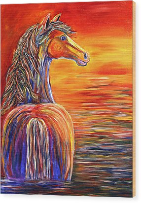 Wood Print featuring the painting Horse In Still Waters by Jennifer Godshalk