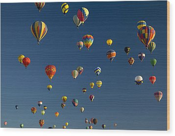 Hot Air Balloons Fly In A Hot Air Wood Print by Ralph Lee Hopkins