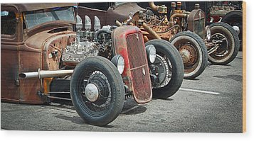 Hot Rods Wood Print by Steve McKinzie