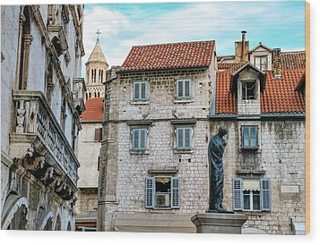 Houses And Cathedral Of Saint Domnius, Dujam, Duje, Bell Tower Old Town, Split, Croatia Wood Print by Elenarts - Elena Duvernay photo