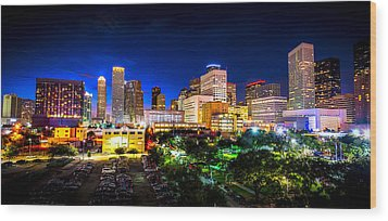 Wood Print featuring the photograph Houston City Lights by David Morefield