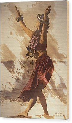 Hula On The Beach Wood Print by Himani - Printscapes