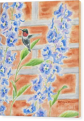 Hummer And Delphiniums Wood Print by Kathryn Duncan