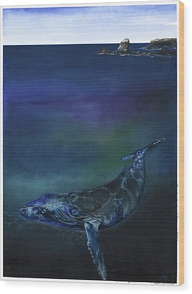 Humpback Whale Wood Print by Anthony Burks Sr