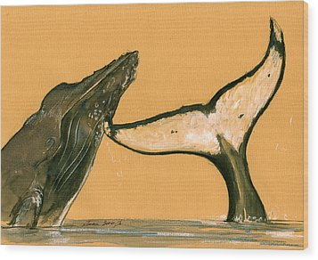 Humpback Whale Painting Wood Print by Juan  Bosco