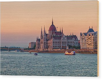 Hungarian Parliament Building In Budapest, Hungary Wood Print by Elenarts - Elena Duvernay photo