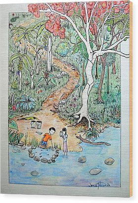 Wood Print featuring the painting Hunting For Tadpoles by Josean Rivera