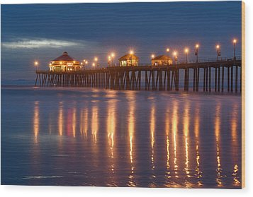 Wood Print featuring the photograph Huntington Beach Pier At Night by Dung Ma