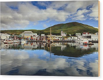 Husavik Harbor Wood Print